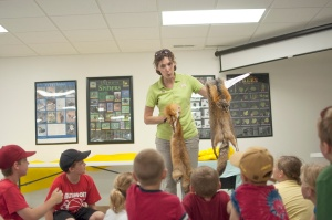 Young campers learn about mammals at a summer nature camp
